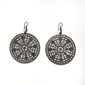 3/$20 Earrings silver round ethnic details